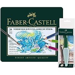 Faber-Castell 11759024lápices de acuarela Alberto Durero estuche de metal, tipo y brocha Graphic Reservorio de agua