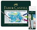 Faber-Castell 117590Crayons aquarelle Albrecht Dürer 24Étui en métal, Art et Graphic Réservoir d'eau Pinceau