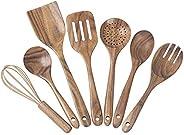 Hobein Wooden Kitchen Utensils for Cooking,7 pcs Natural Teak Wood Utensil Set,Wooden Spoons for Cooking Nonst