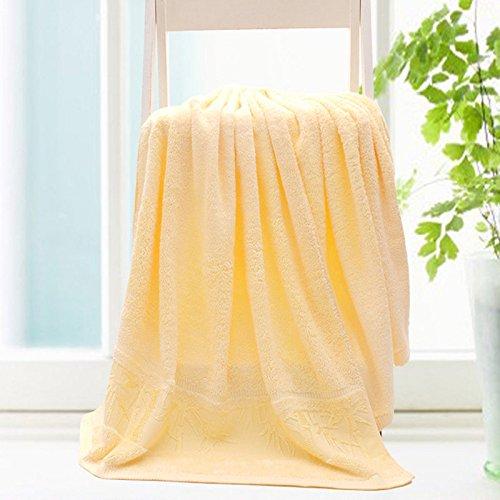 DANCICI Handtuch Heimtex Bambus Faser Farbe Verdickung großes Badetuch einteilige 140*70 cm 450 g Artikel, Rosa Gelb