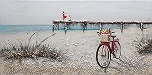 BUBOLA quadro tricolor dipinto a mano mare bicicletta spiaggia ponte in rilievo DIPIW628 60x120