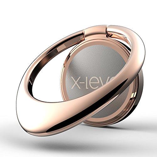 X-level 360° drehbarer Handy Ringhalter, Wassertropfen Design Smartphone Halter Ständer Auto Finger-Halter Finger-Halterung für iPhone X/8/8 Plus/7/7 Plus, Samsung Galaxy S9/S9+/S8/S8+ (Roségold) (Pro Finger)
