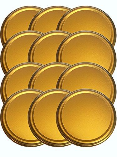 25er Set Ersatzdeckel Twist-Off-Deckel für Sturzgläser To 82 Deckelfarbe Gold Sturzglas passend für 230, 350, 435, 540, 565 ml Einmachgläser Einkochgläser (Gold-kuchen-deckel)