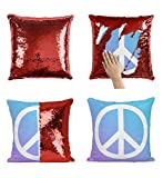 White Hippie Sign P53 Sequin Pillow, Kissen, Funny Pillow, Sequin Pillowcase, Two Color Pillow, Gift for him her, Magic Pillow, Mermaid Pillow Cover, Kissenbezug, [Cover Only]