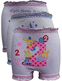 Lurewear Kids White Colur Multi Design Bloomers (Pack of 3)