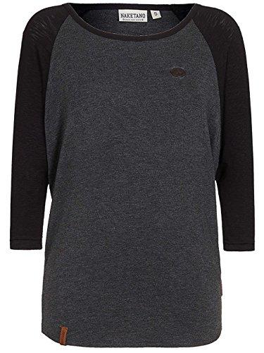 Damen Longsleeve Naketano Immer Am Ballern T-Shirt anthracite melange / blac