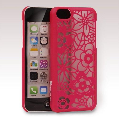GreatShield TACT Pattern Coque arrière ultra fine en caoutchouc rigide pour iPhone 5c 2013 Motif rét Flora Design (White) Flora Design (Pink)