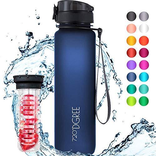 """720°DGREE Trinkflasche \""""uberBottle\"""" +Früchtebehälter - 1L - BPA-Frei - Wasserflasche für Sport, Fitness, Uni, Fahrrad, Outdoor - Sportflasche aus Tritan - Leicht, Bruchsicher, Nachhaltig"""