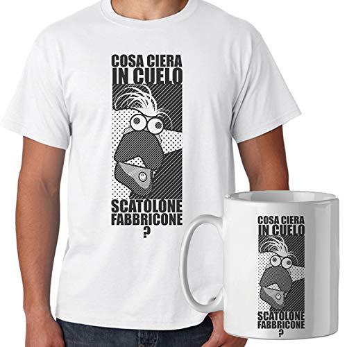 Spike Tee Promo T-Shirt con Tazza Mug Abbinata Dodo l'Albero Azzurro, Cosa c'Era in Quello scatolone fabbricone - Divertente - Uomo L - Bianca