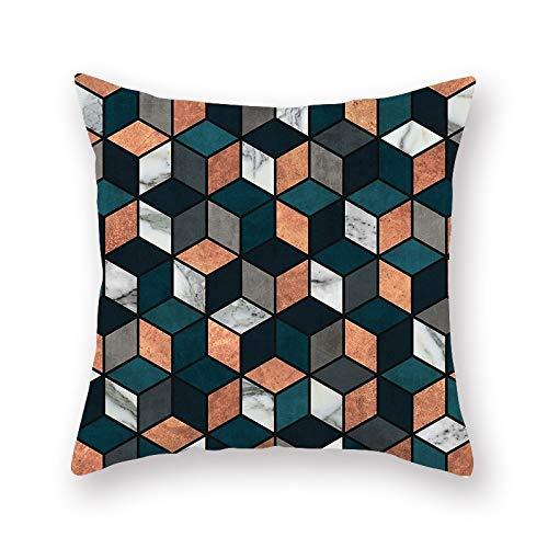 LIXINXX Einfache Wind geometrischen Druck Polyester Haushalt Kissenbezug, Sofa Bettwäsche Kissen Kissenbezug 45x45cm, 450mm * 450mm, 3