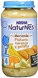 NESTLÉ Purés Merienda, tarrito de puré de fruta y galleta sin gluten, variedad Plátano, Naranja y Galleta, para bebés a partir de 4 meses - Paquete de 6 tarritos de 250 g