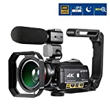 Videocamera 4K, ORDRO 4K Ultra HD da 3 Pollici IPS Touch Screen WIFI Videocamera 30X Zoom Digitale...