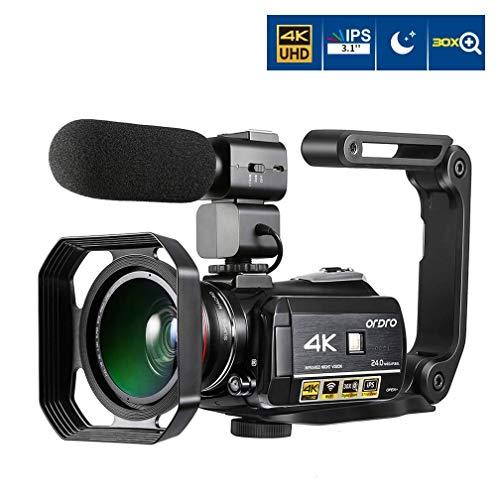 Videocamera 4K, ORDRO 4K Ultra HD da 3 Pollici IPS Touch Screen WIFI Videocamera 30X Zoom Digitale Videocamera per Visione Notturna con Microfono Obiettivo Grandangolare Cappuccio e Supporto Manuale