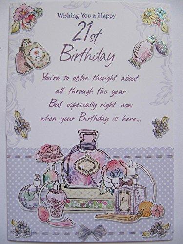 Wunderschönen bunten Glitzer beschichtet Parfüm Happy 21st Birthday Grußkarte -