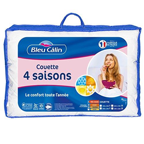 Bleu Câlin Couette 4 Saisons 3 couettes en 1 Blanc 240 x 260 cm