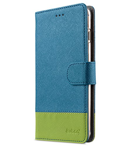Apple Iphone 7 Melkco Jacka Type Premium Leather Case with Premium Leather Hand Crafted Good Protection,Premium Feel-Red LC Lake Blue Cross pattern/Green Cross pattern 2