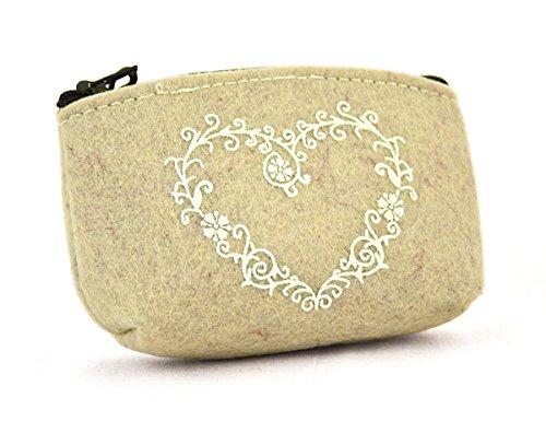 Handtaschen Schätze Kleine (Filztasche Herz aus Filz beige weiß, 13 x 3,5 x 8 cm, Filzetui Kosmetiktasche Utensilientasche Geldbörse mit Reißverschluss)