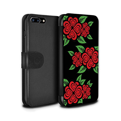 Stuff4 Coque/Etui/Housse Cuir PU Case/Cover pour Apple iPhone 7 Plus / Blanc/Turquoise Design / Roses Coeur Amour Collection Noir/Rouge