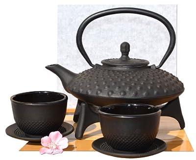 , tasses, théière et théière en fonte d'inspiration japonaise avec repose-théière 0,8l Noir