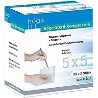 Höga Steril-Kompressen, sterile Mullkompressen - 5 x 5 cm - 25x2 Stück, steril, 8-fach, EN 14079-Typ 17, 2er-Pack. preisvergleich bei billige-tabletten.eu