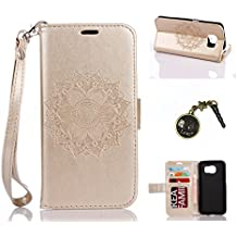 PU Cuir Coque Strass Case Etui Coque étui de portefeuille protection Coque Case Cas Cuir Swag Pour( Samsung Galaxy S7 Edge)+Bouchons de poussière (1SS)