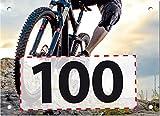 Startnummern von 1 bis 100 nummeriert, wasserfestes Papier für Outdoor-Einsatzt, 100 Stück im Format 20 x 14,5 cm (ca. DIN A5), in den Ecken gelocht, Design: Cross Bike