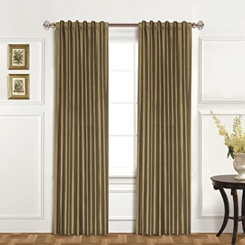 United Curtain 100-Percent Dupioni Silk Window Curtain Panel, 42 by 120-Inch, Taupe