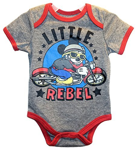 Disney Mickey Mouse LITTLE REBEL Baby Boys Bodysuit Dress Up Outfit (6-9 Months) by Disney