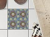creatisto Fliesenmosaik Dekoaufkleber | Fliesen Folie Sticker Aufkleber Selbstklebend Badezimmer renovieren Küche Fototapete Selbstklebend | 10x10 cm Muster Ornament Orientalisches Mosaik - 1 Stück