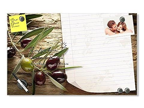 Graz Design® Glas Magnettafel Wandtafel Magnetwand für Küche Oliven Notizblatt Blatt Linien (60x40cm // Sicherheitsglas + 6 Magnete + 2 Stifte)