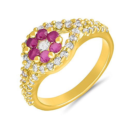 Valentine Gifts - Mahi Gold plated Outshining Finger Ring with Ruby for Women FR1100640G