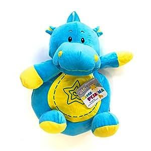 Peluche range pyjama Hypopotame bleu et jaune