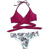 SOLYHUX Mujeres Bikini, 2018 Traje De Baño De Dos Piezas Bikini Conjunto con Estampado,