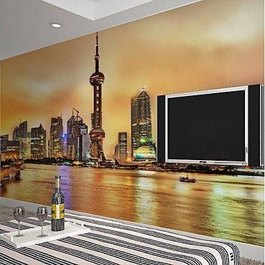 GANTA Art DecoWallpaper For Home Wall Covering Canvas Adhesive required Mural Dusk City Landscape XL XXL XXXL ,