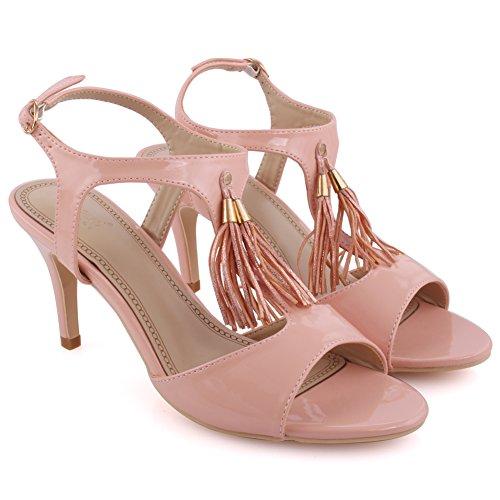 Unze Frauen 'Iris' Fringe Detail Mid Low High Heel Party Prom Zusammen Karneval Abend Sandalen Schuhe UK Größe 3-8 - 8T8555-56 Pink