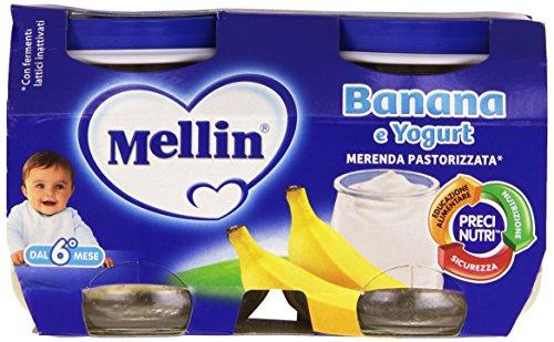 Mellin - Merenda Pastorizzata, Banana & Yogurt, 2 x 120 g - 240 g - [confezione da 12]