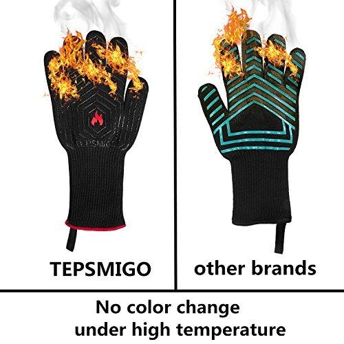 51i309S0xcL - TEPSMIGO Feuerhandschuhe,Grillhandschuhe Feuerfest,Ofenhandschuhe,Grillhandschuhe Hitzebeständig,Grillzubehör Handschuhe mit Einer Grillschürze