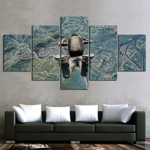 JZGDH Canvas HD Print Poster Home Decor 5 Piece Pubg Game Painting Modern Wall Art Picture Modular Living Room Skeleton 150X100Cm