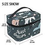 Tizorax Sweet Dreams Ours Wold Grue Grande trousse cosmétique de voyage Organiseur de maquillage Coque support pour femme Filles