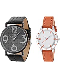 Briota Analogue Black & White Dial Watch For Couples Pack Of 2-302BRT