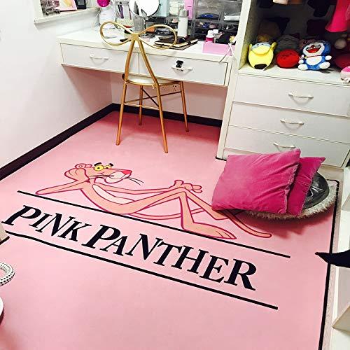 WXDD Fußmatten wohnzimmer teppich, schlafzimmer schlafzimmer voller netto rot foto, schöne mädchen mode karte, 40 x 60 cm kaufen 2 geschenke, Pink Leopard Black word horizontale version