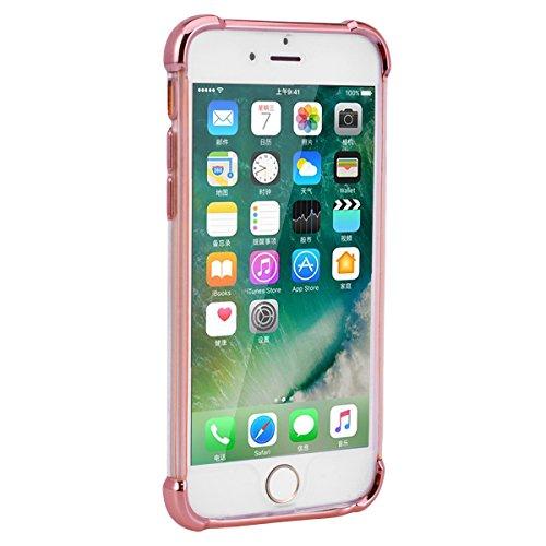 Yokata iPhone 7 Plus Hülle Transparent Vollschutz Handyhülle Ultra Dünn Slim Leicht Etui Anti-Kratzer Case Weich Silikon Gel Clear Durchsichtig TPU Schutzhülle [Backcover] und Weiche Plastik Hard PC S Rose Gold