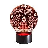 JYTXYD Lampada da Tavolo a Forma di Pallone da Calcio Real Madrid Illusion Effetto Notte a Forma di LED 7 Lampada da Tavolo con Decorazione a Colori Cambia Colore, Luce d'ambiente Multicolore