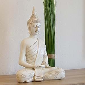 thai buddha wei statue gro 40 cm sitzend buddhafigur zen deko figur f r garten oder. Black Bedroom Furniture Sets. Home Design Ideas