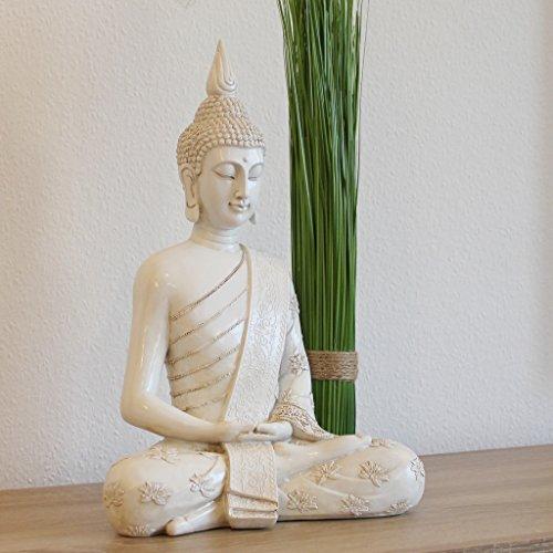 Thai Buddha Weiß Statue groß 40 cm Sitzend Buddhafigur Zen Deko-Figur für Garten oder Wohnzimmer (Buddha Groß)