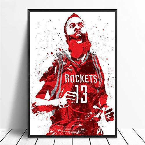taoyuemaoyi James Harden Basketball Star Sport Leinwand Poster Wand Kunstdruck Kinder Dekor Mann Höhle Wohnkultur Wanddekor Leinwand Malerei 40 * 60 cm