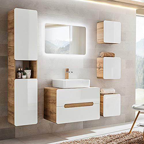 Lomadox Badezimmermöbel Set in Hochglanz weiß mit Wotaneiche, 50cm Keramik-Waschtisch mit Unterschrank, LED-Spiegel