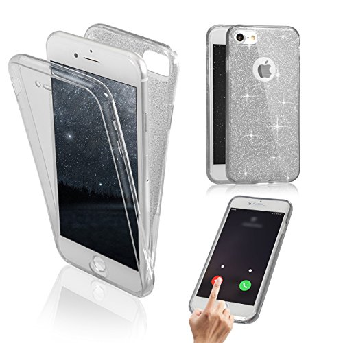 iPhone 7 Coque Gel TPU Silicone Etui Intégrale Transparent Case pour iPhone 7 / iPhone 8 4.7 Pouces Housse Protection Full Silicone Souple Case,Vandot iPhone 7 / iPhone 8 Ultra Mince Fine Slim Leger T Paillette-Argent