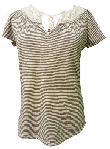 Womens bestickt Bauer Top mit Streifen klein braun -