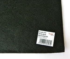 """9"""" x 12"""" Sheet Sticky Back Self Adhesive Acrylic Felt Fabric - Black"""